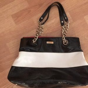 Kate Spade Black and white leather tote